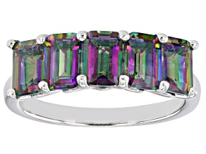 Pre-Owned Multi Color Mystic Quartz Rhodium Over Sterling Silver 5-Stone Ring 2.37ctw