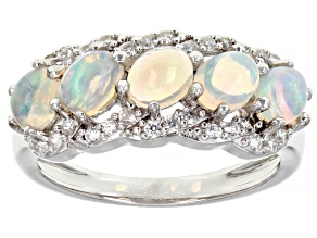 Pre-Owned Multicolor Ethiopian Opal Rhodium Over Silver Band Ring 1.40ctw