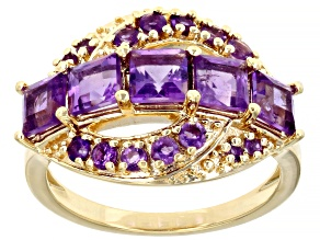 Pre-Owned Purple Amethyst 18K Yellow Gold Over Sterling Silver Ring 1.80ctw