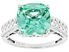 Pre-Owned Green Lab Created Spinel Rhodium Over Sterling Silver Solitaire Ring 3.06ct