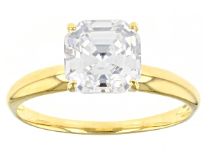 Pre-Owned White Cubic Zirconia 1k Yellow Asscher Cut Ring 3.15ctw