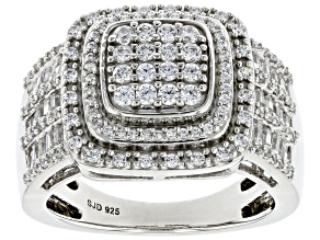 Pre-Owned White Cubic Zirconia Platinum Over Sterling Silver Ring 1.70ctw