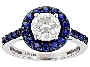 Pre-Owned Moissanite And Blue Sapphire 14k White Gold Ring 1.20ctw DEW.