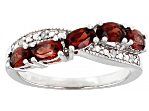 Pre-Owned Red Garnet Rhodium Over Sterling Silver Ring 1.43ctw