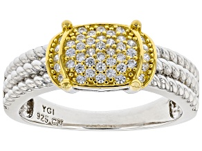 Pre-Owned White Cubic Zirconia Rhodium And 14k Yellow Gold Over Sterling Silver Ring 0.40ctw