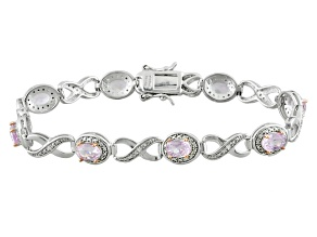 Pre-Owned Pink Kunzite And White Zircon Rhodium Over Sterling Silver Bracelet 6.63ctw
