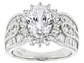 Pre-Owned White Cubic Zirconia Platinum Over Sterling Silver Ring 5.86ctw