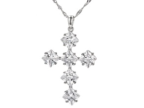 Pre-Owned White Cubic Zirconia Rhodium Over Sterling Silver Cross Pendant With Chain 9.99ctw