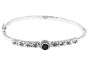 Pre-Owned Black Spinel Sterling Silver Bangle Bracelet .57ct