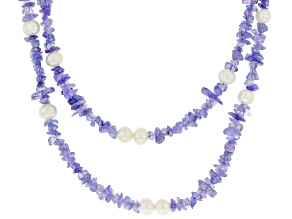 Pre-Owned Blue Tanzanite Rhodium Over Silver Necklace