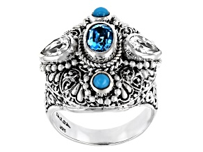 Pre-Owned Blue & White Topaz, Sleeping Beauty Turquoise Silver Ring 1.66ctw