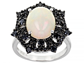 Pre-Owned Multi-Colored Opal Rhodium Over Sterling Silver Ring. 0.74ctw