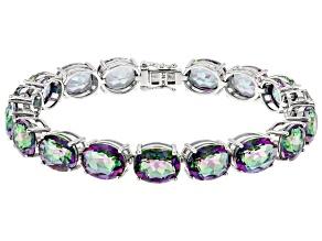 Pre-Owned Multi-color Quartz Rhodium Over Sterling Silver Bracelet 35.11ctw