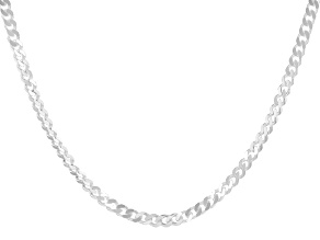 Pre-Owned Sterling Silver Faceted Curb 20 Inch Necklace