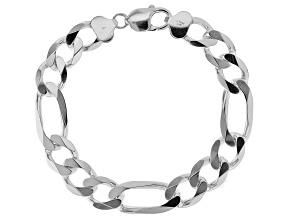 Pre-Owned  Sterling Silver 11.5MM Figaro Link Bracelet