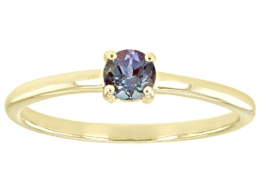 Pre-Owned Green Lab Created Alexandrite 10k Yellow Gold Solitaire Ring. 0.20ctw