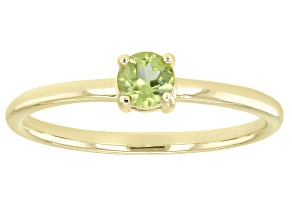 Pre-Owned Green Manchurian Peridot™ 10k Yellow Gold Solitaire Ring. 0.26ctw