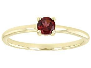 Pre-Owned Red Garnet 10k Yellow Gold Solitaire Ring. 0.28ctw