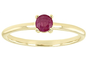 Pre-Owned Red Mahaleo(R) Ruby 10k Yellow Gold Solitaire Ring. 0.37ctw