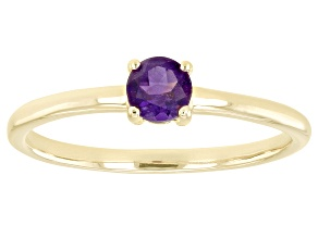 Pre-Owned Purple Amethyst 10k Yellow Gold Solitaire Ring. 0.20ctw