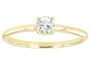 Pre-Owned Blue Aquamarine 10k Yellow Gold Solitaire Ring. 0.19ctw