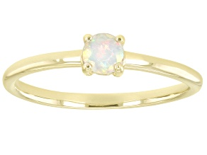 Pre-Owned Multi-Color Ethiopian Opal 10k Yellow Gold Solitaire Ring. 0.14ctw