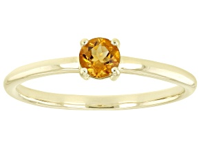 Pre-Owned Orange Citrine 10k Yellow Gold Solitaire Ring. 0.21ctw