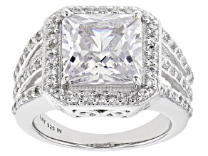 Pre-Owned White Cubic Zirconia Rhodium Over Sterling Silver Ring 10.03ctw