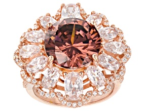 Pre-Owned Pink & White Cubic Zirconia 18K Rose Gold Over Sterling Silver Center Design Ring 15.88ctw