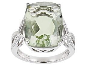 Pre-Owned Green Prasiolite Rhodium Over Sterling Silver Ring 8.00ct