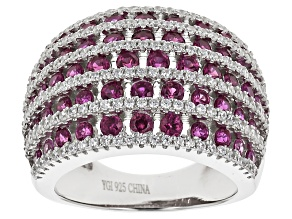 Pre-Owned Pink And White Cubic Zirconia Rhodium Over Silver Ring 3.61ctw