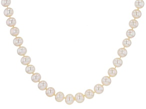 Pre-Owned White Cultured Freshwater Pearl Rhodium Over Sterling Silver 20 Inch Strand Necklace