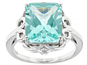 Pre-Owned Green Lab Created Spinel Rhodium Over Sterling Silver Solitaire Ring. 5.78ct