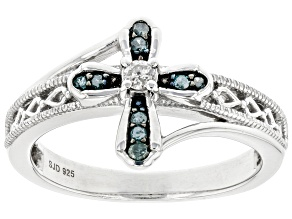 Pre-Owned Blue And White Diamond Rhodium Over Sterling Silver Cross Ring 0.15ctw