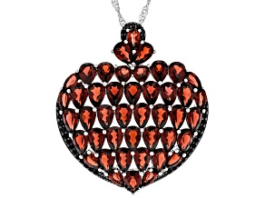 Pre-Owned Red Garnet Rhodium Over Silver Pendant With Chain 16.78ctw