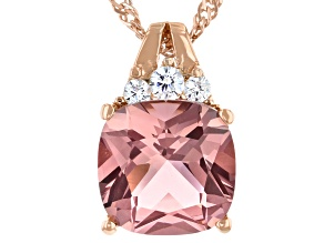 Pre-Owned Pink Glass and White Cubic Zirconia 18k Rose Gold Over Sterling Silver Pendant With Chain