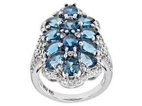 Pre-Owned London Blue Topaz Rhodium Over Silver Ring 6.86ctw