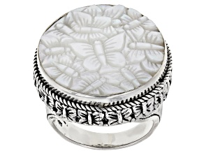 Pre-Owned White Mother-of-Pearl Butterfly Silver Ring