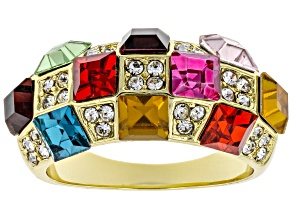 Pre-Owned Gold Tone Multi Color Crystal Dome Ring