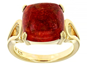 Pre-Owned Red Sponge Coral 18k Gold Over Silver Ring