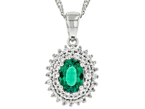 Pre-Owned Green Lab Created Emerald Rhodium Over Silver Pendant With Chain .98ctw