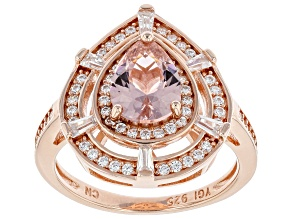 Pre-Owned Morganite Simulant And White Cubic Zirconia 18K Rose Gold Over Sterling Silver Ring 2.67ct
