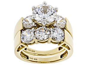 Pre-Owned White Cubic Zirconia 18K Yellow Gold Over Sterling Silver Ring With Band 7.50ctw