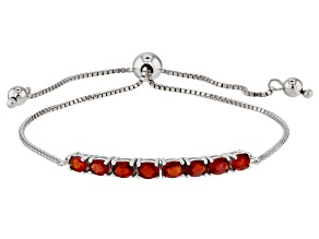 Pre-Owned Red Winza Sapphire Rhodium Over Silver Bolo Bracelet 1.56ctw