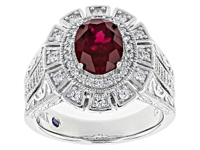 Pre-Owned Red Lab Created Ruby And White Cubic Zirconia Platineve Ring 2.80ctw