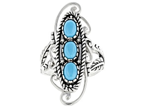 Pre-Owned Sleeping Beauty Turquoise Rhodium Over Silver 3 Stone Ring