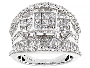 Pre-Owned White Cubic Zirconia Rhodium Over Sterling Silver Ring 5.42ctw