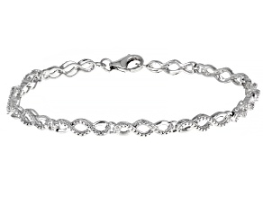 Pre-Owned White Diamond Accent Rhodium Over Sterling Silver Tennis Bracelet