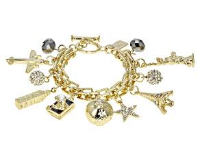Pre-Owned White Crystal Gold Tone Travel Charm Bracelet