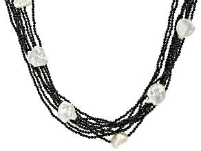 Pre-Owned White Cultured Keshi Freshwater Pearl, Black Spinel, & White Zircon Rhodium Over Silver Ne